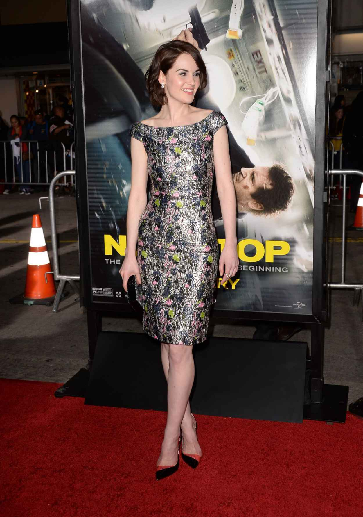 Michelle Dockery Wearing Christian Dior Lurex Dress - -Non-Stop- LA Premiere-3