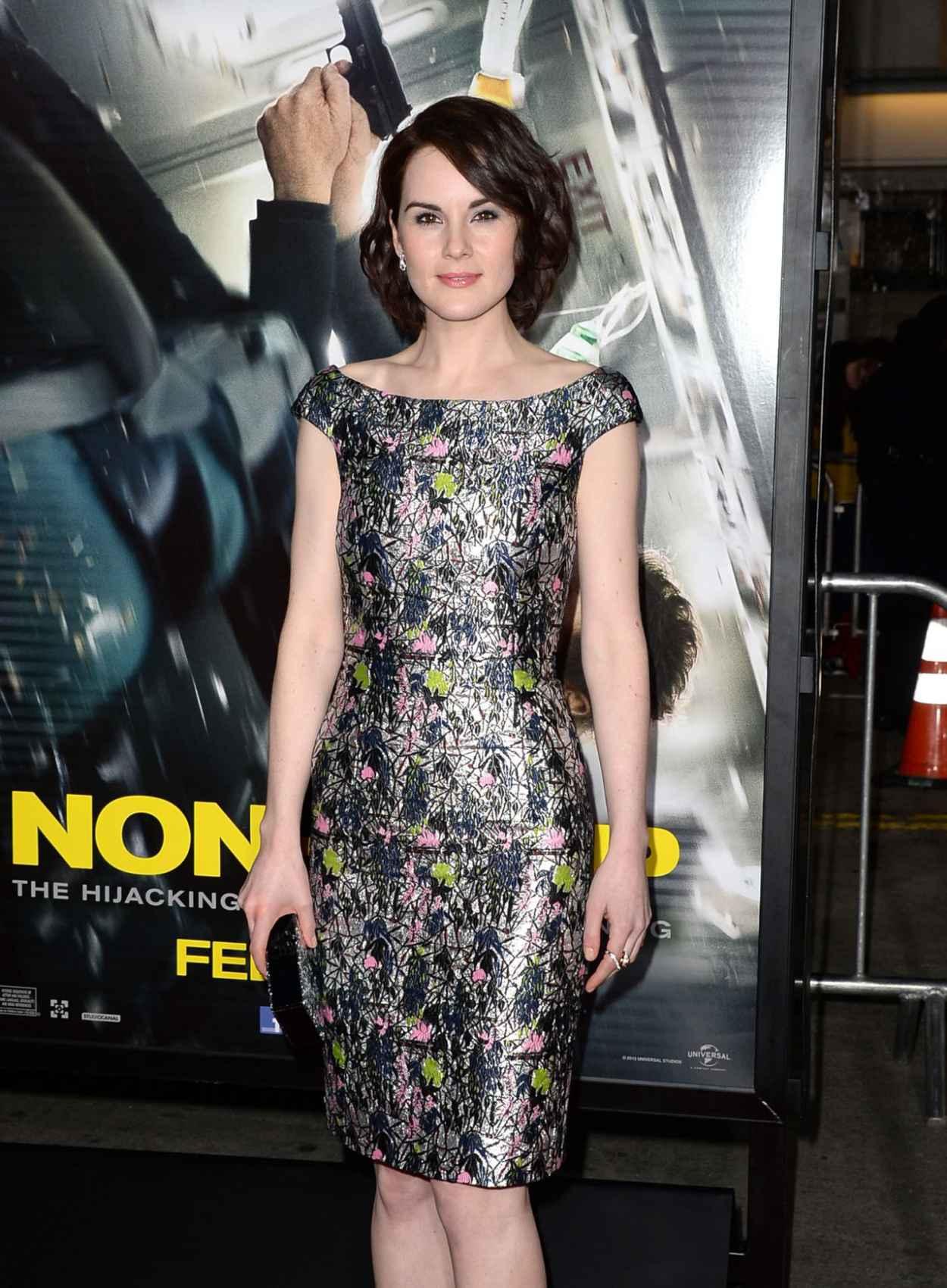 Michelle Dockery Wearing Christian Dior Lurex Dress - -Non-Stop- LA Premiere-5