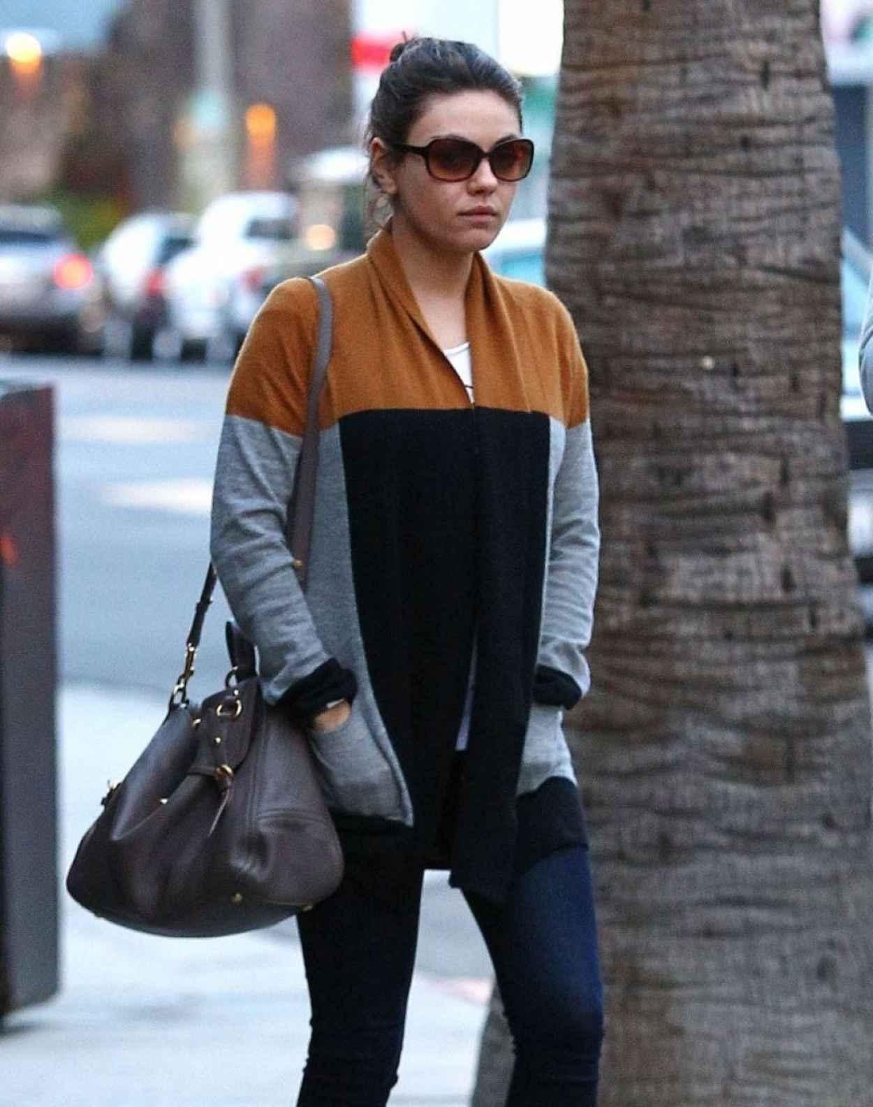 Mila Kunis Street Style - Arriving to the Black Market Liquor Bar in Studio City-1