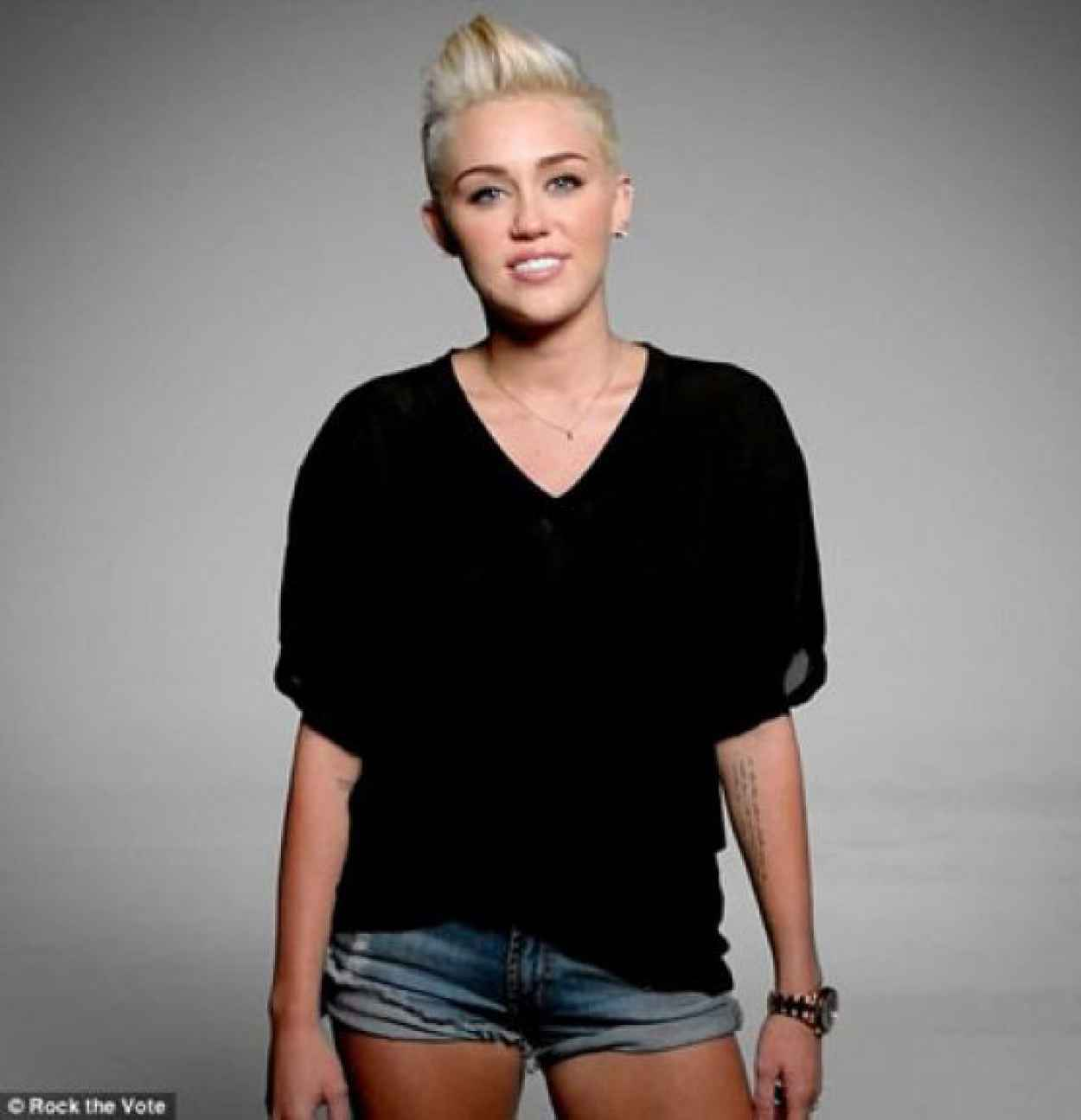 Miley Cyrus Wears Short Shorts - Rock the Vote 2012 Photoshoot-1