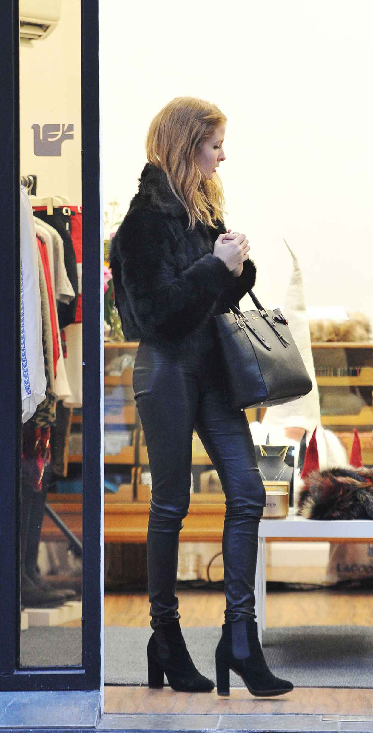 Millie Mackintosh Street Style - Out in Leather Pants in Chelsea - December 2015-1
