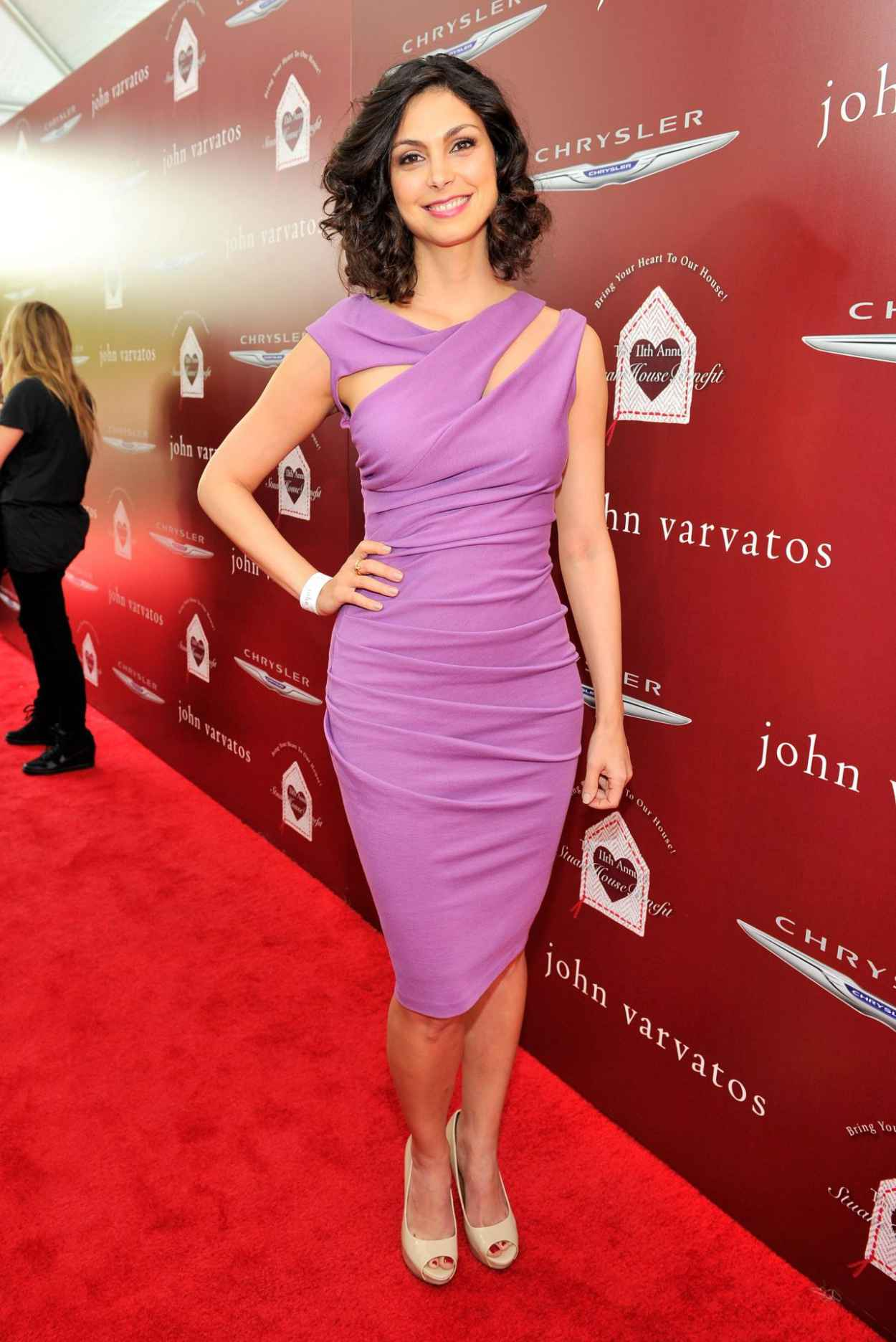 Morena Baccarin Wearing Kevan Hall Jersey Dress - 2015 John Varvatos Stuart House Benefit in West Hollywood-1