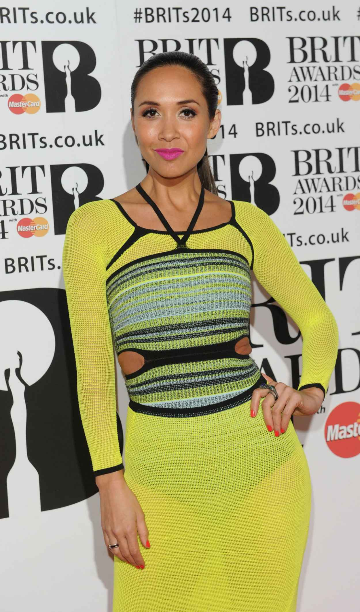 Myleene Klass WEaring Mark Fast Spring 2015 Dress - The BRIT Awards 2015-1