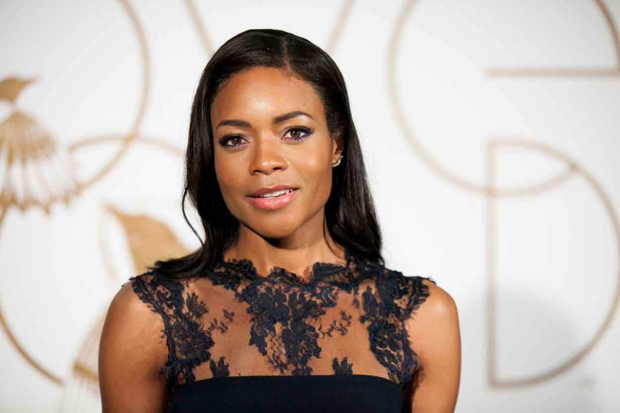 Naomie Harris Wearing Monique Lhuillier at LoveGold Cocktail Party 2015-1