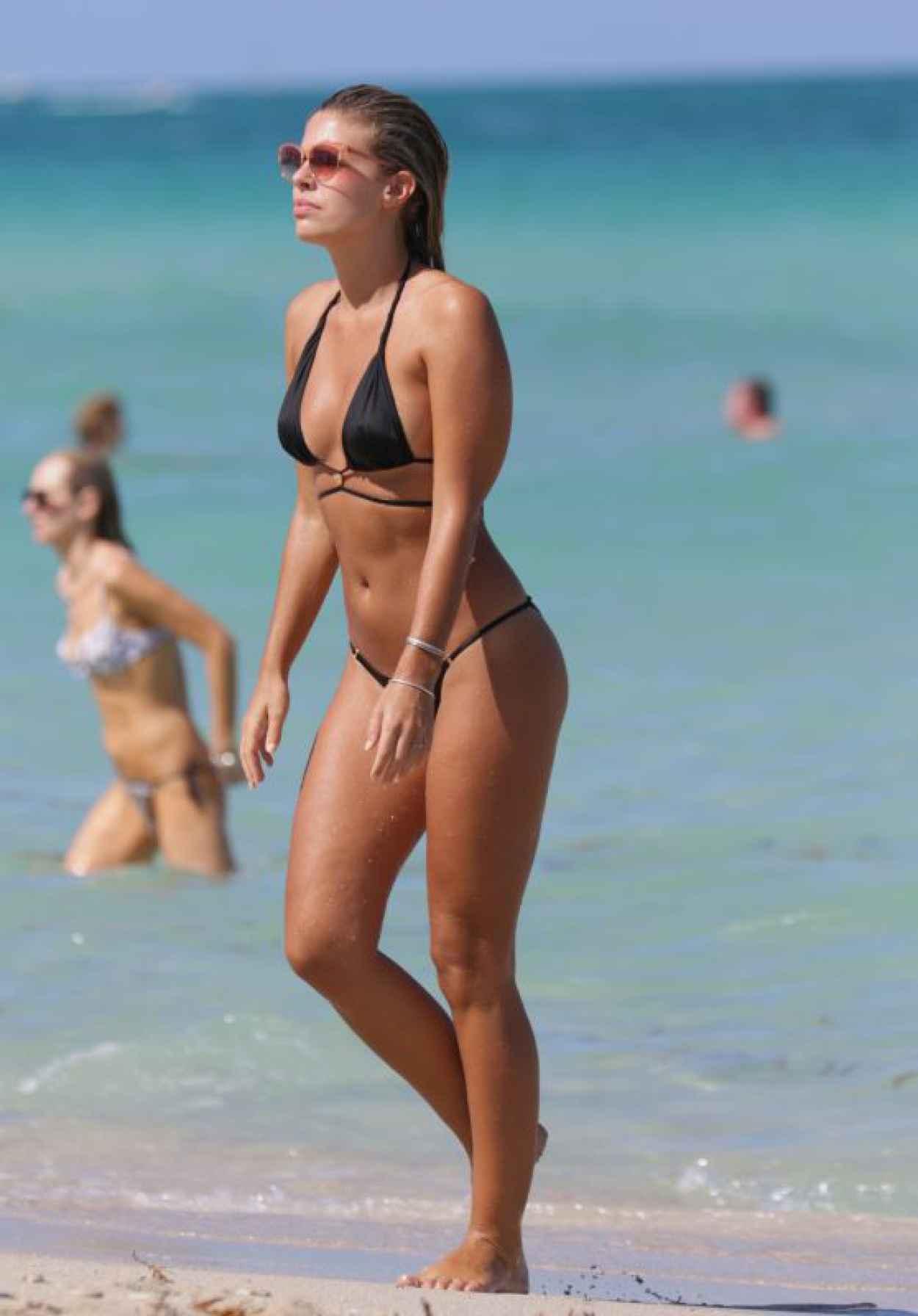 Natasha Oakley in Black Bikini at a Beach in Miami, May 2015-1