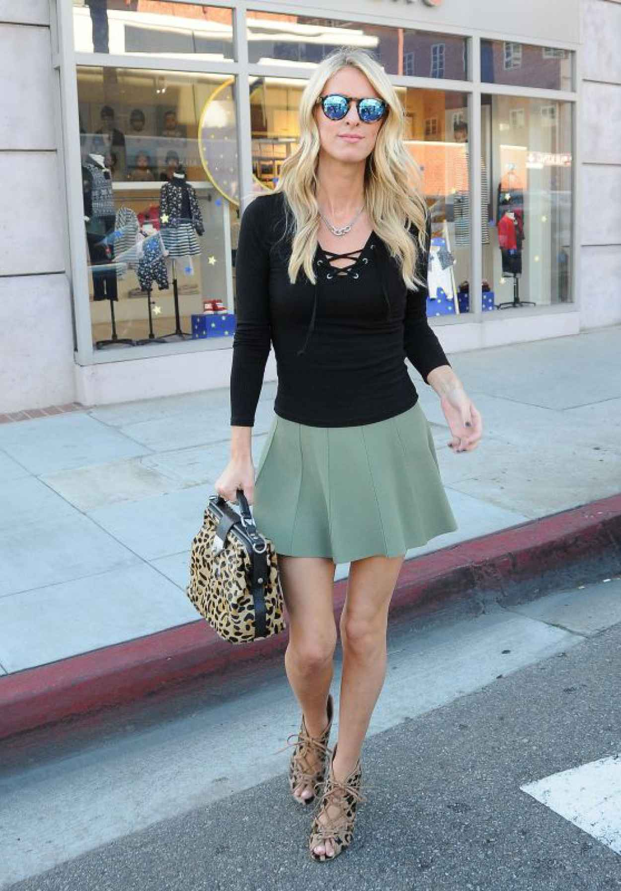 Nicky Hilton Rothschild in a Green Mini-Skirt in Beverly Hills - October 2015-1