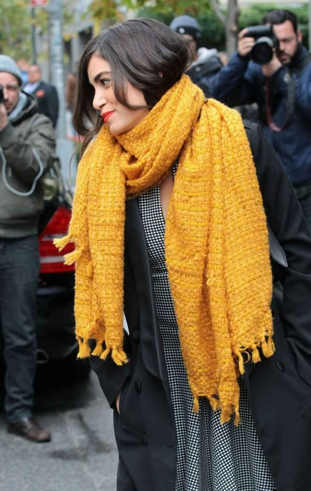 Nikki Reed in a Big Yellow Scarf - Out in New York City-1