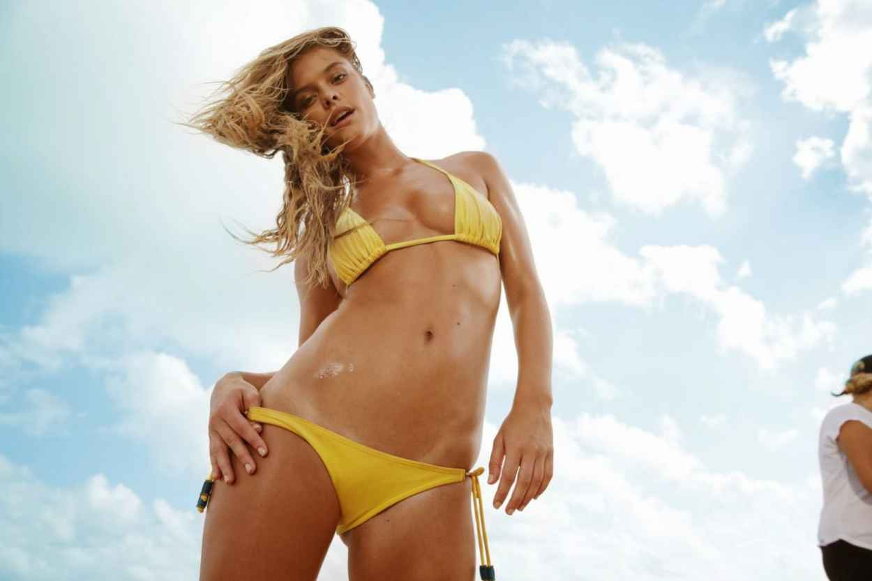 Nina Agdal in Tiny Yellow Bikini - BTS Filming a Beer Commercial-1