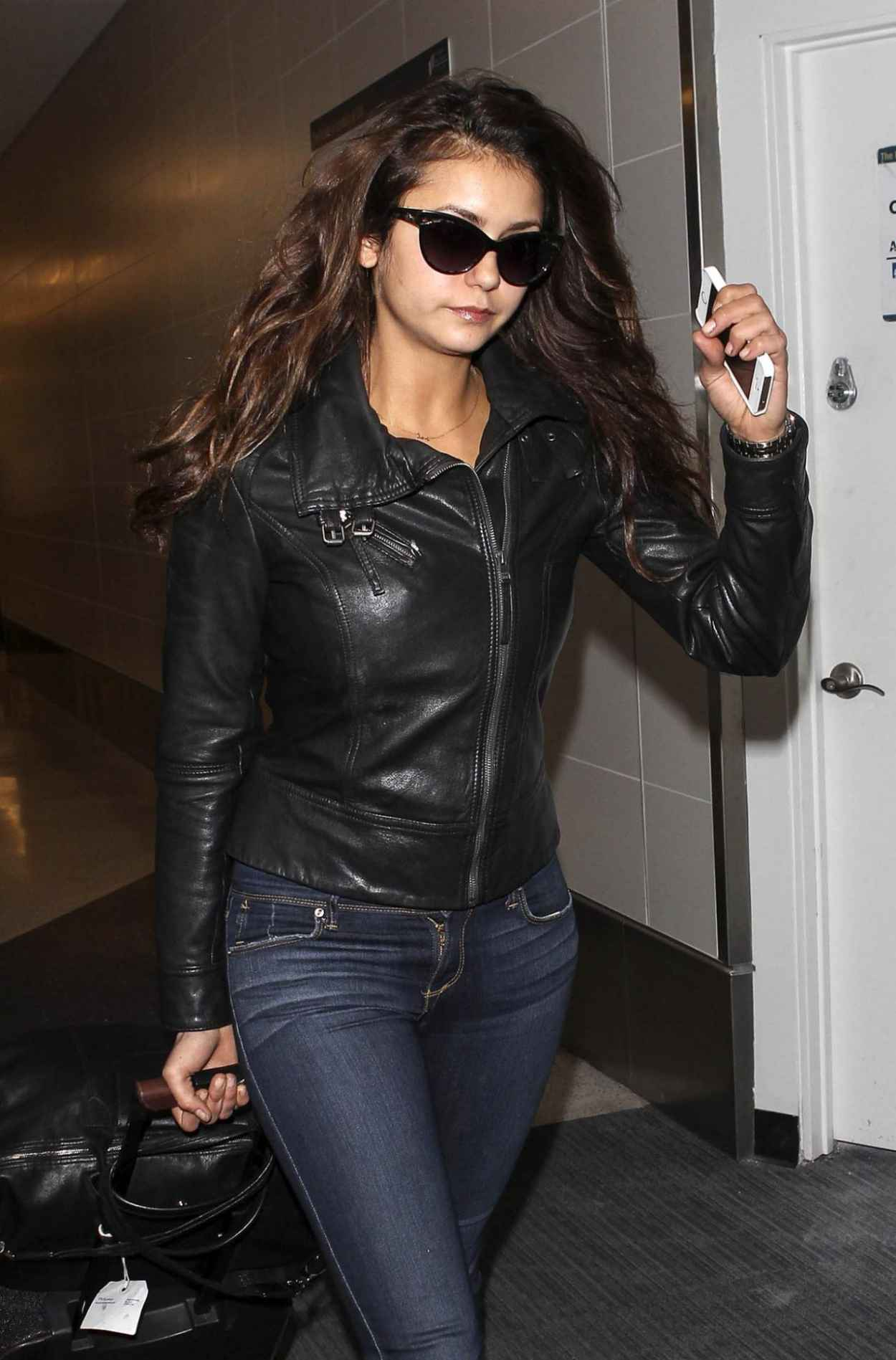 Nina Dobrev in Jeans at LAX Airport - March 2015-1
