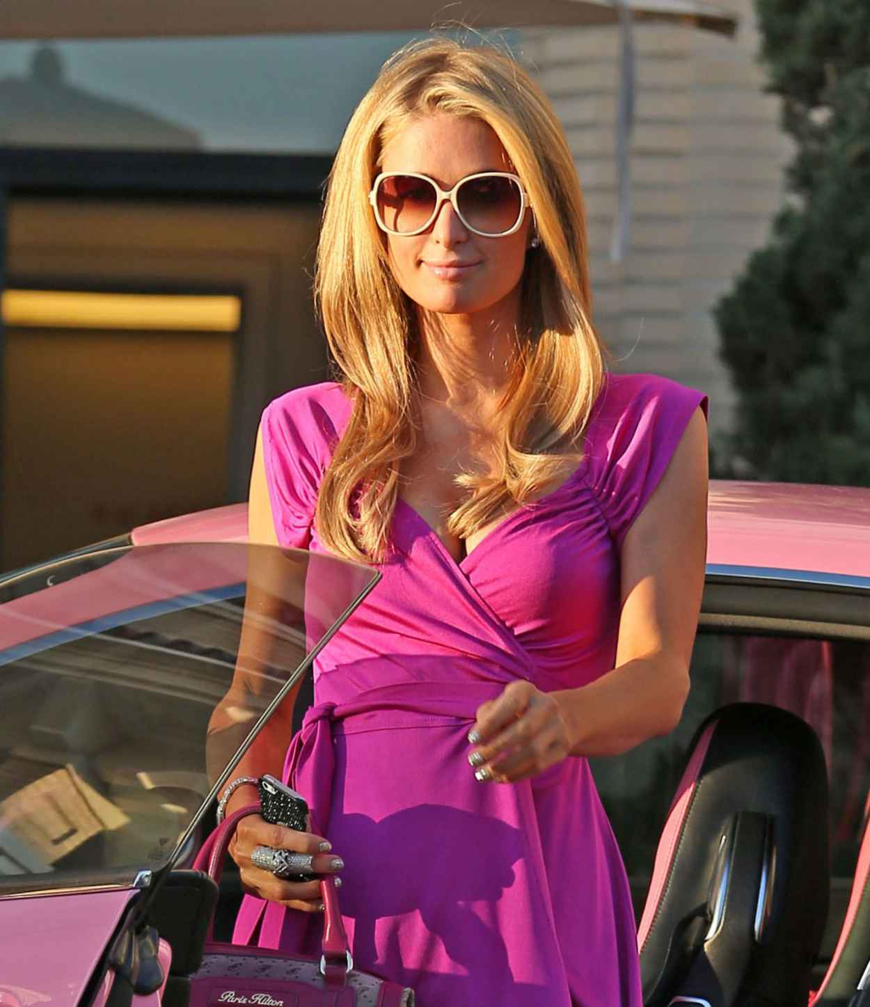 Paris Hilton at Barneys for Some Shopping Driving Her Pink Bentley in Los Angeles, February 2015-1