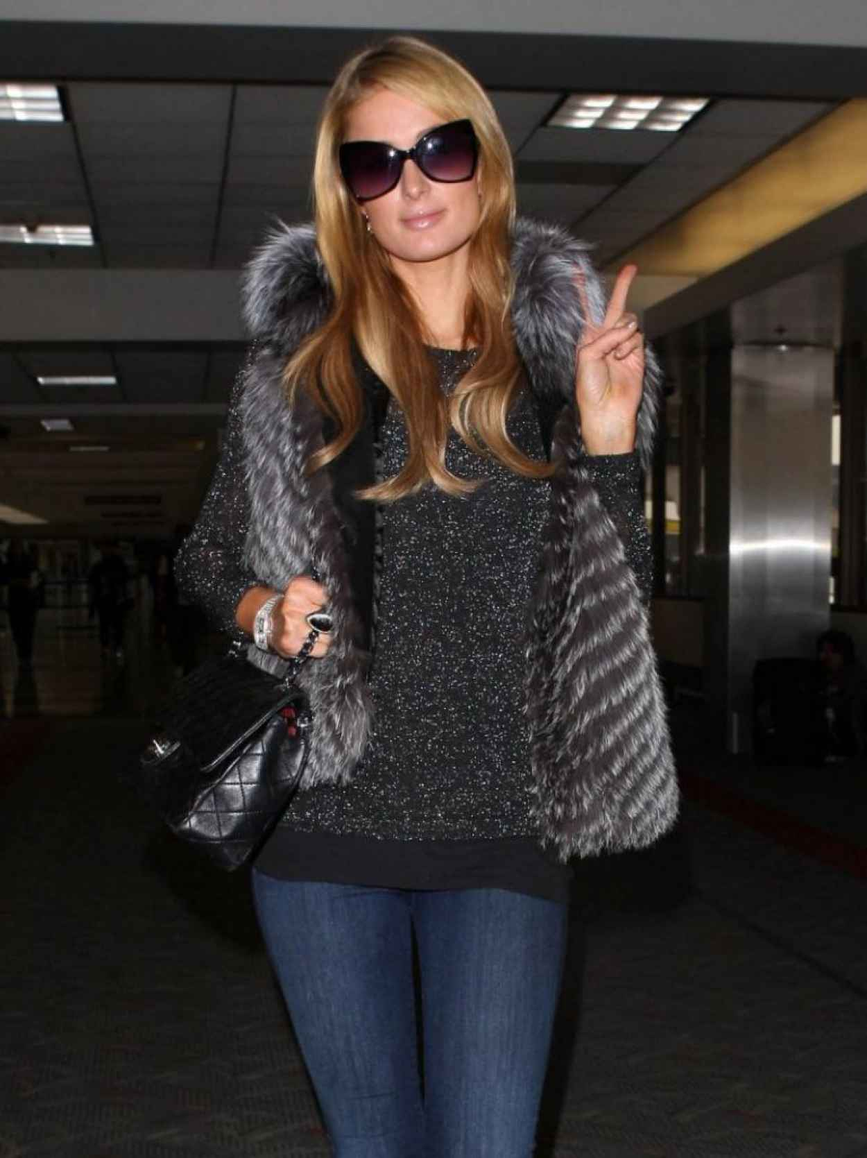 Paris Hilton in Jeans - LAX Airport - January 2015-1