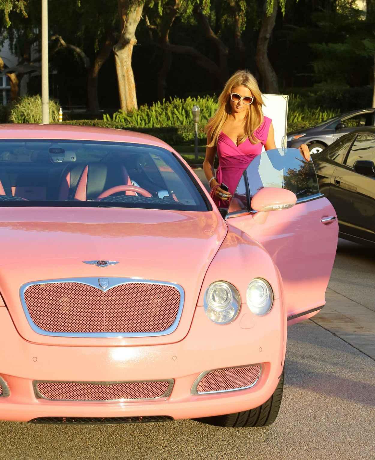 Paris Hilton - Shopping at Barneys & Drives a Pink Bentley Continental GT, February 2015-1