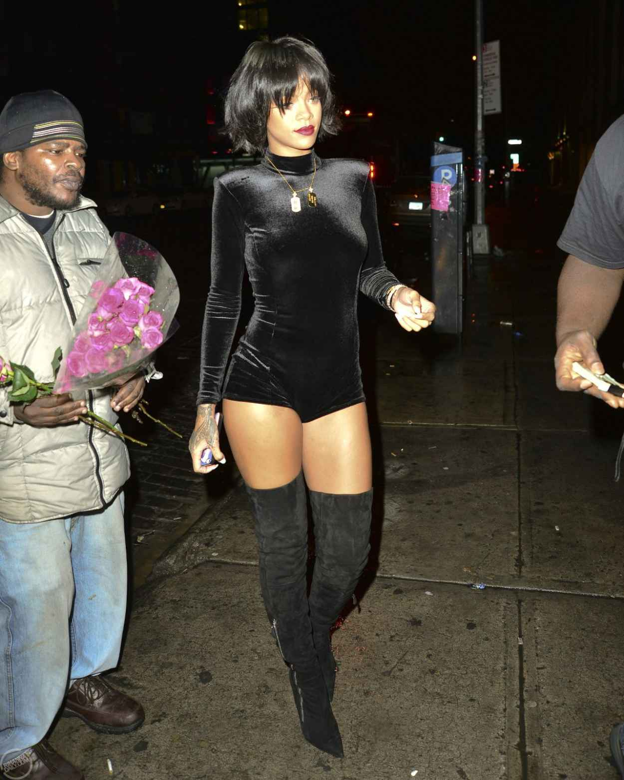 Rihanna Street Style - Wearing a short Jumpsuit in New York City - November 2015-4