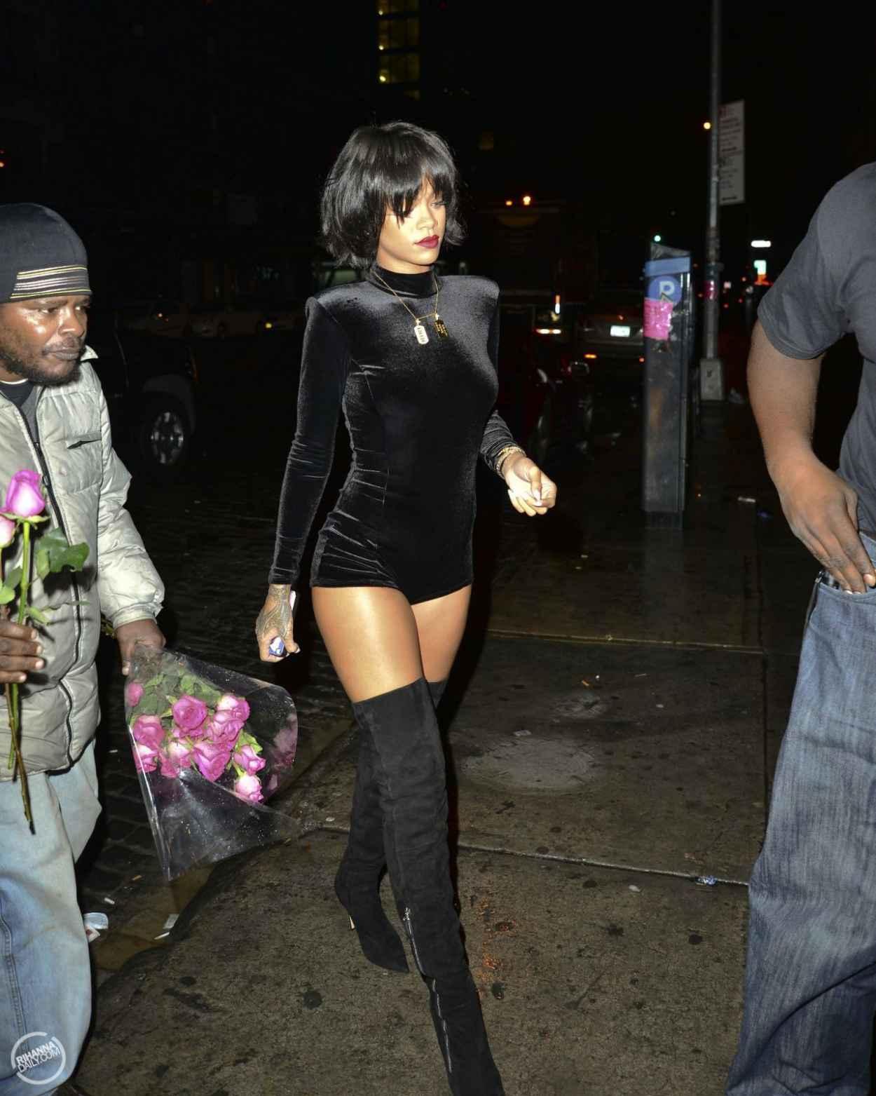 Rihanna Street Style - Wearing a short Jumpsuit in New York City - November 2015-5
