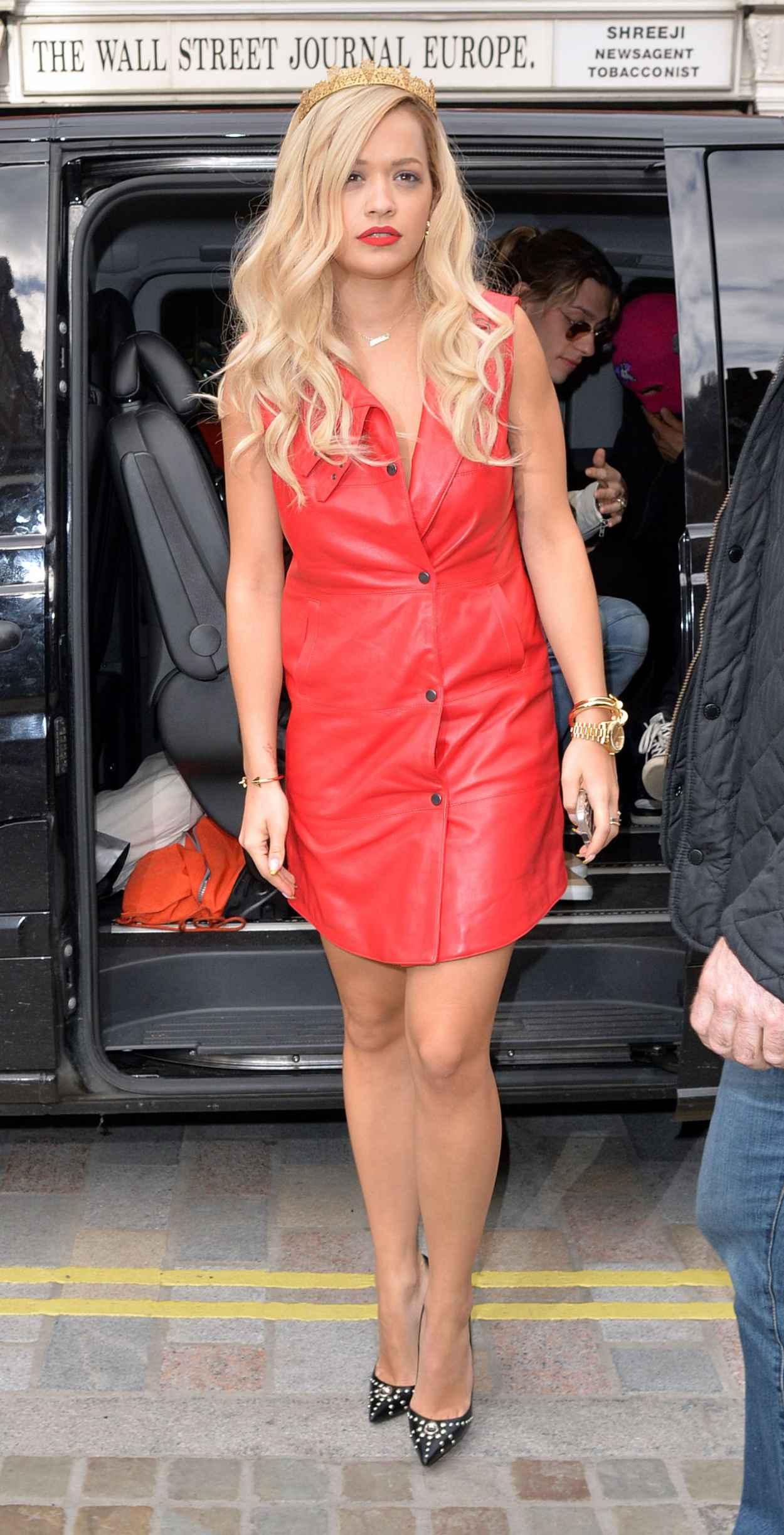 Rita Ora in Red Dress - Capital FM Studios in London - May 2015-1