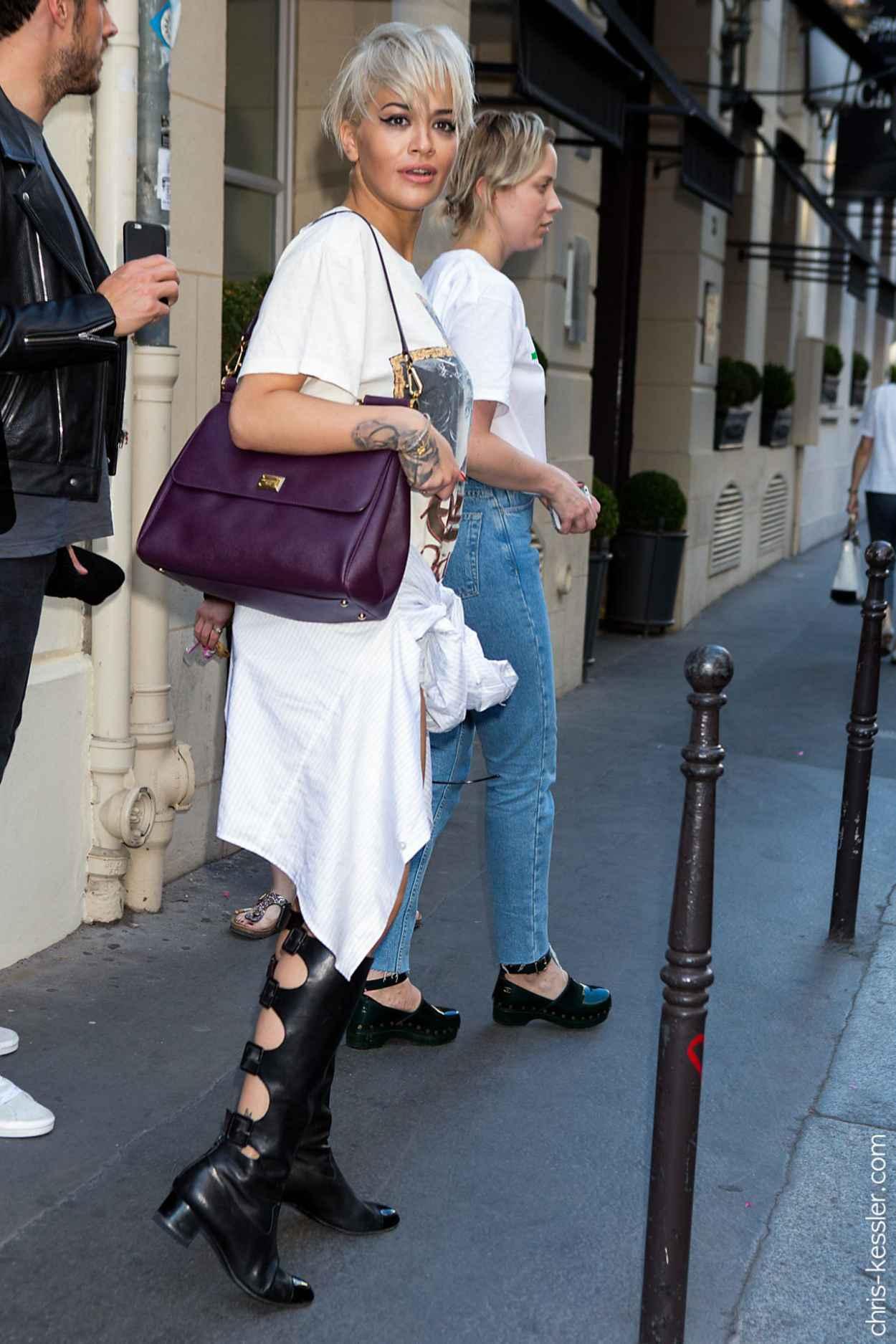 Rita Ora Street Fashion - Out in Paris, July 2015-2