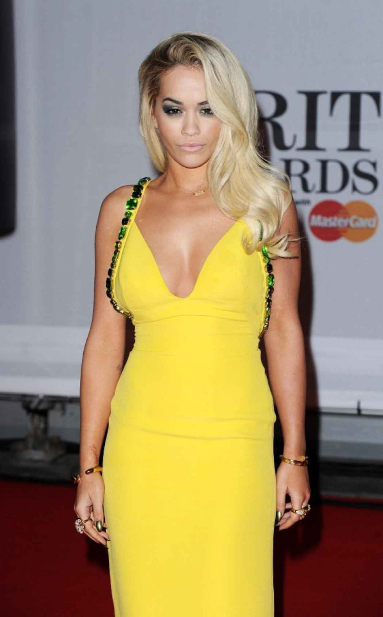 Rita Ora Wearing Prada Dress - 2015 BRIT Awards-1