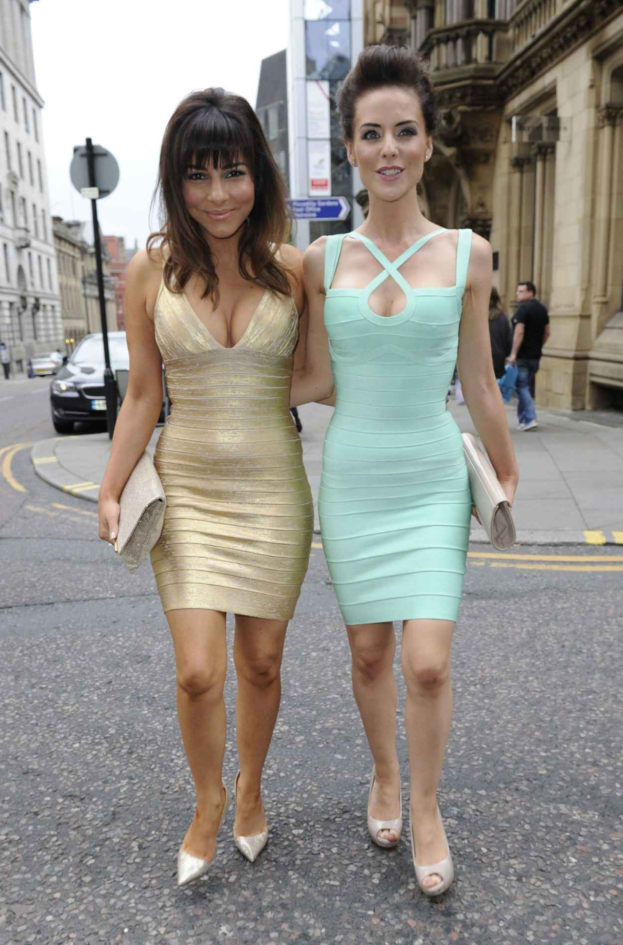 Roxanne Pallett & Stephanie Waring Similar Bandage Style Dresses For a Night Out in Manchester-1