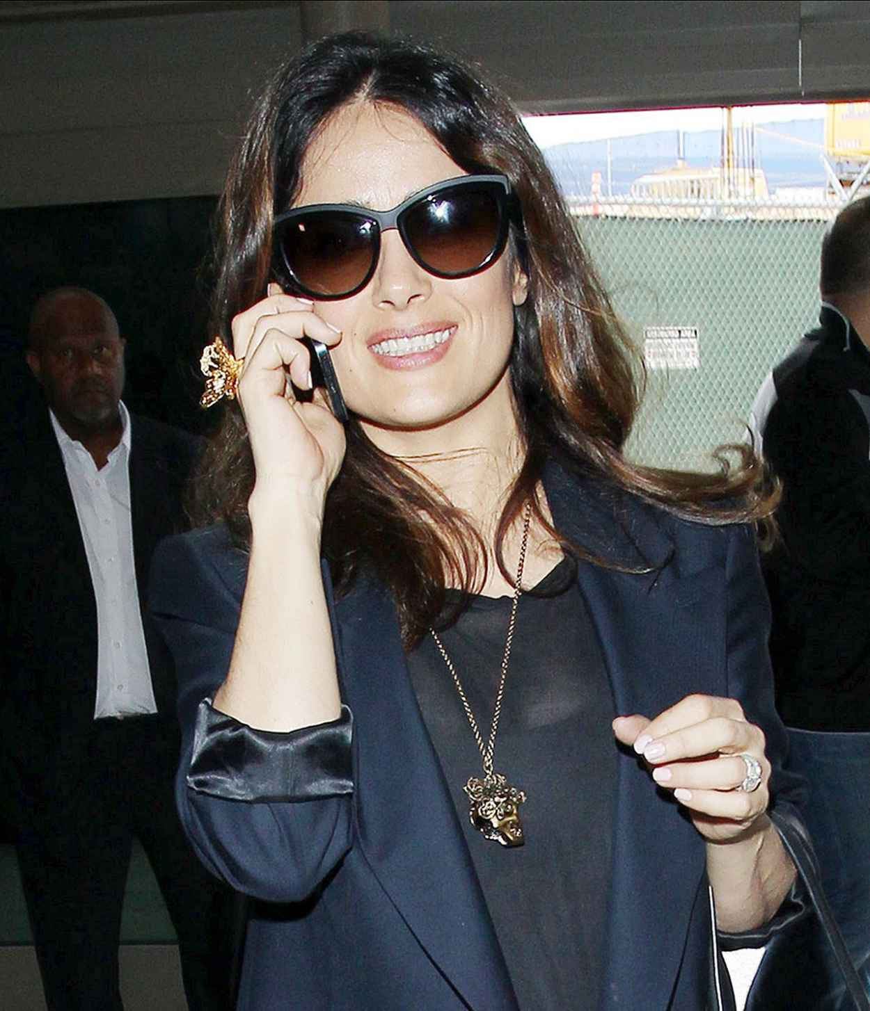 Salma Hayek Casual Style - LAX Airport - March 2015-1
