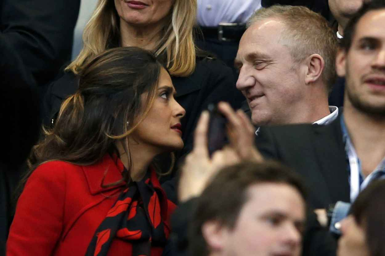 Salma Hayek and Francois-Henri Pinault - French Cup Final 2015 Soccer Match-1