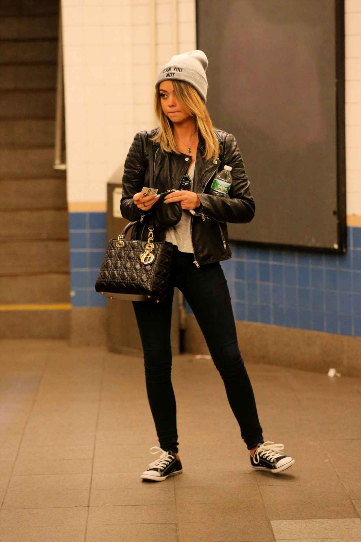 Sarah Hyland Taking the Subway in New York City - April 2015-1
