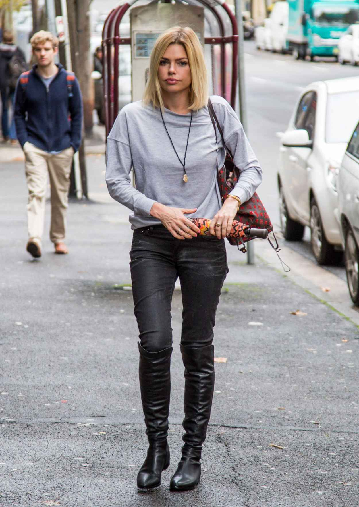 Sophie Monk Street Style - Rainy Day in Sydney, Australia, April 2015-2