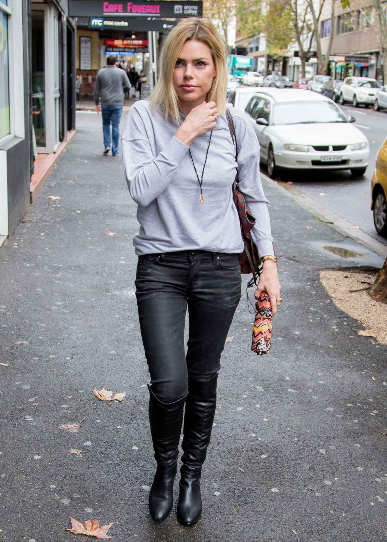 Sophie Monk Street Style - Rainy Day in Sydney, Australia, April 2015-3