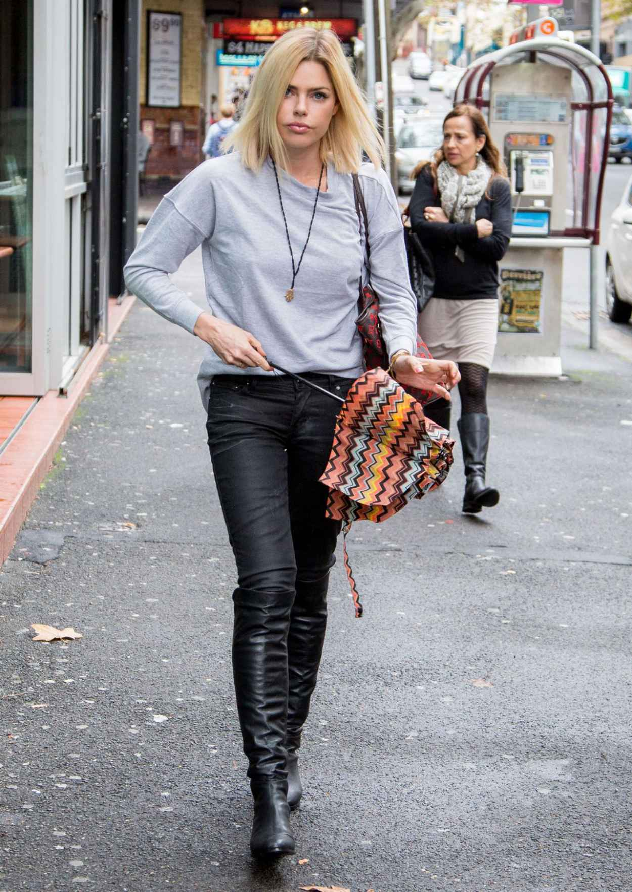 Sophie Monk Street Style - Rainy Day in Sydney, Australia, April 2015-4