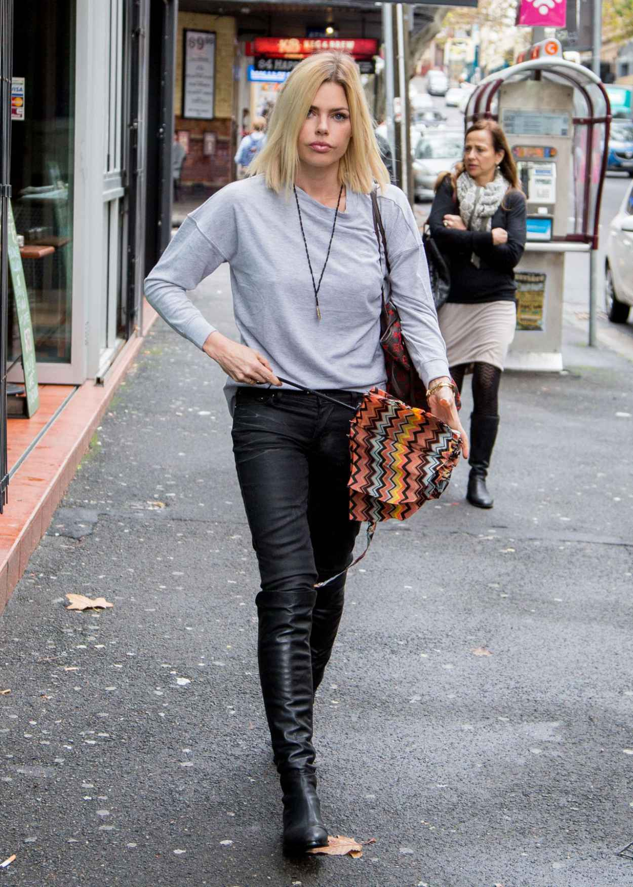 Sophie Monk Street Style - Rainy Day in Sydney, Australia, April 2015-5
