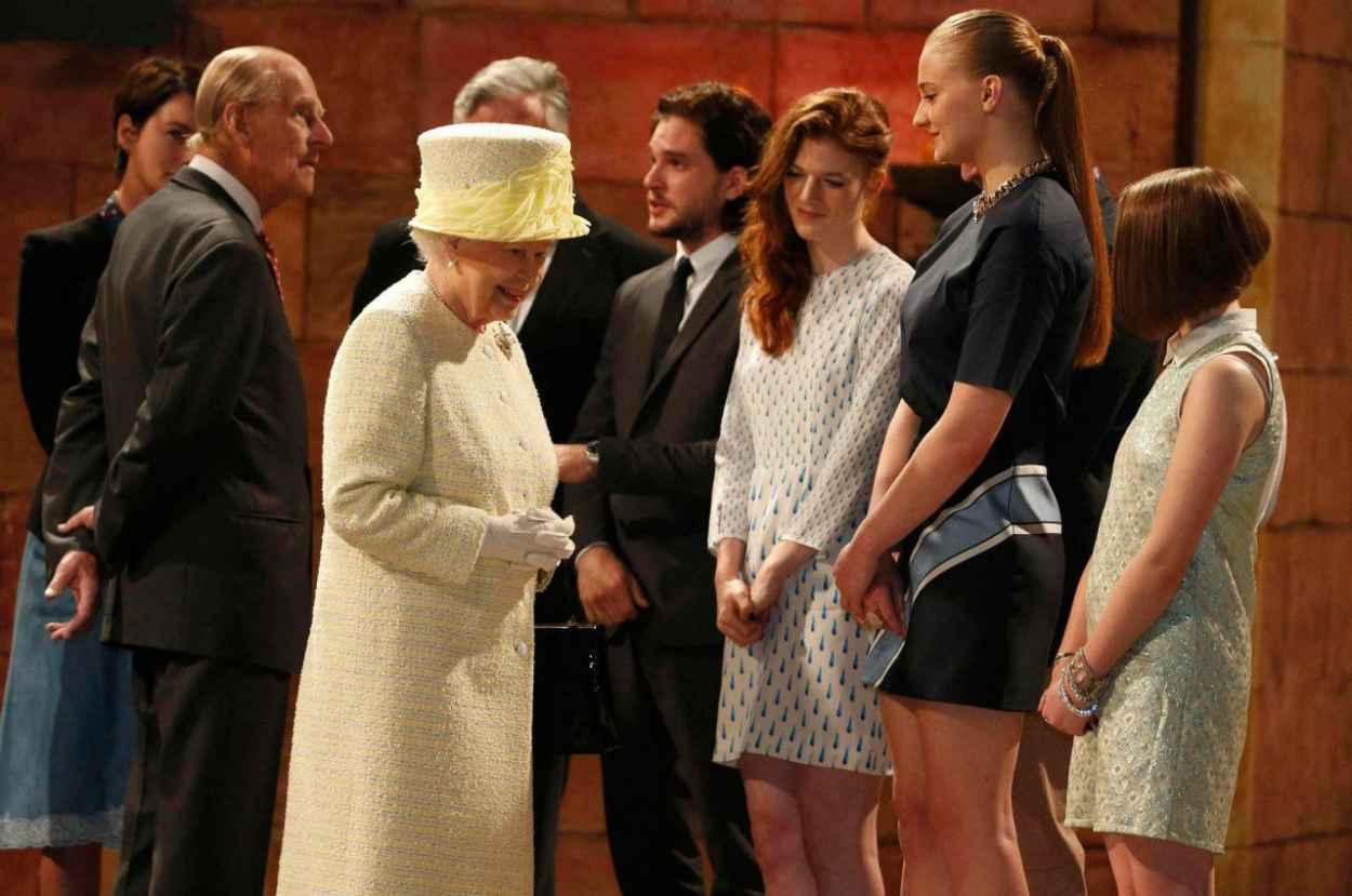 Sophie Turner - Queen Elizabeth II Visits the Game of Thrones Set in Belfast - June 2015-1