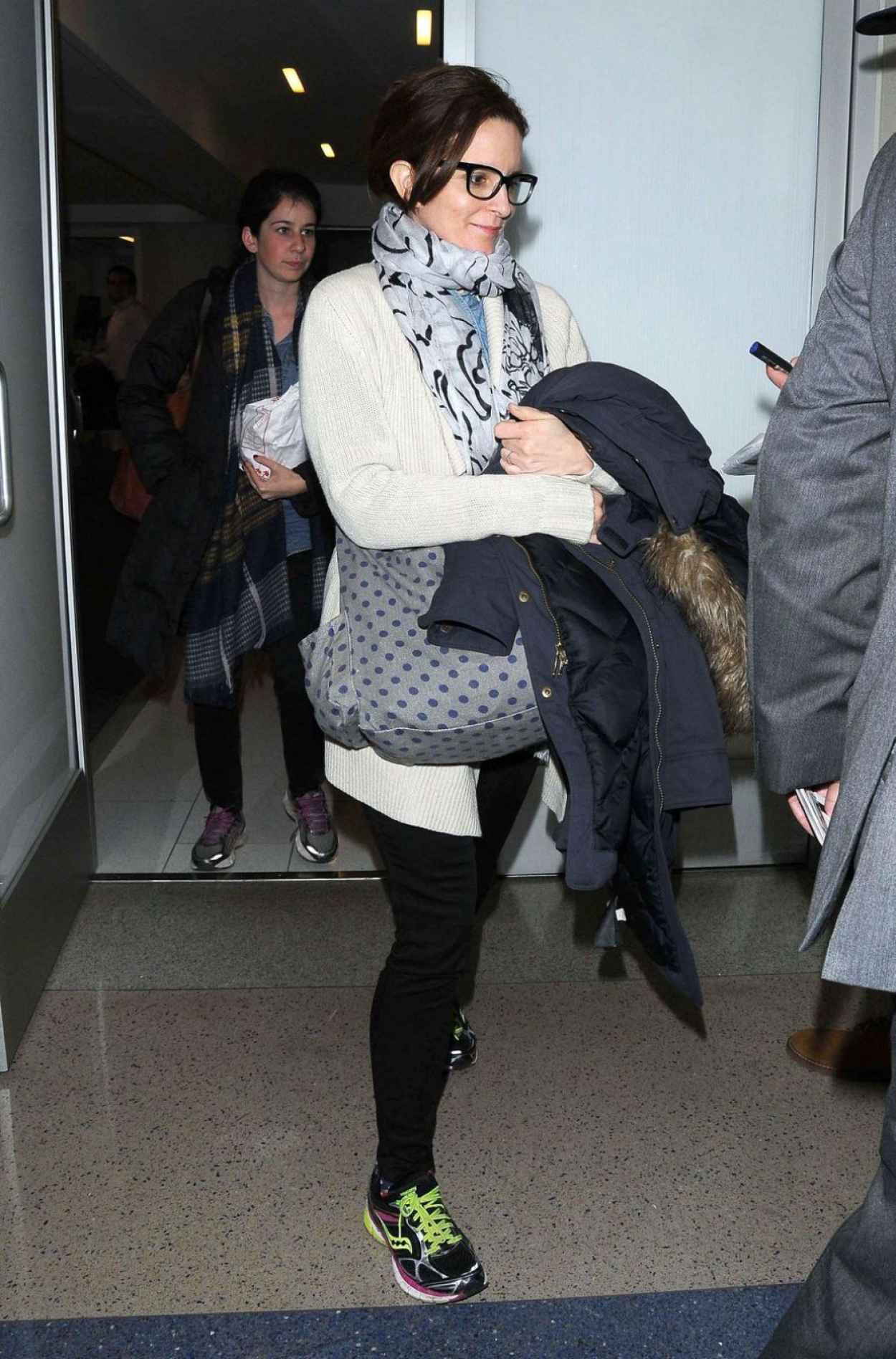 Tina Fey - at LAX Airport, Jan. 2015-4