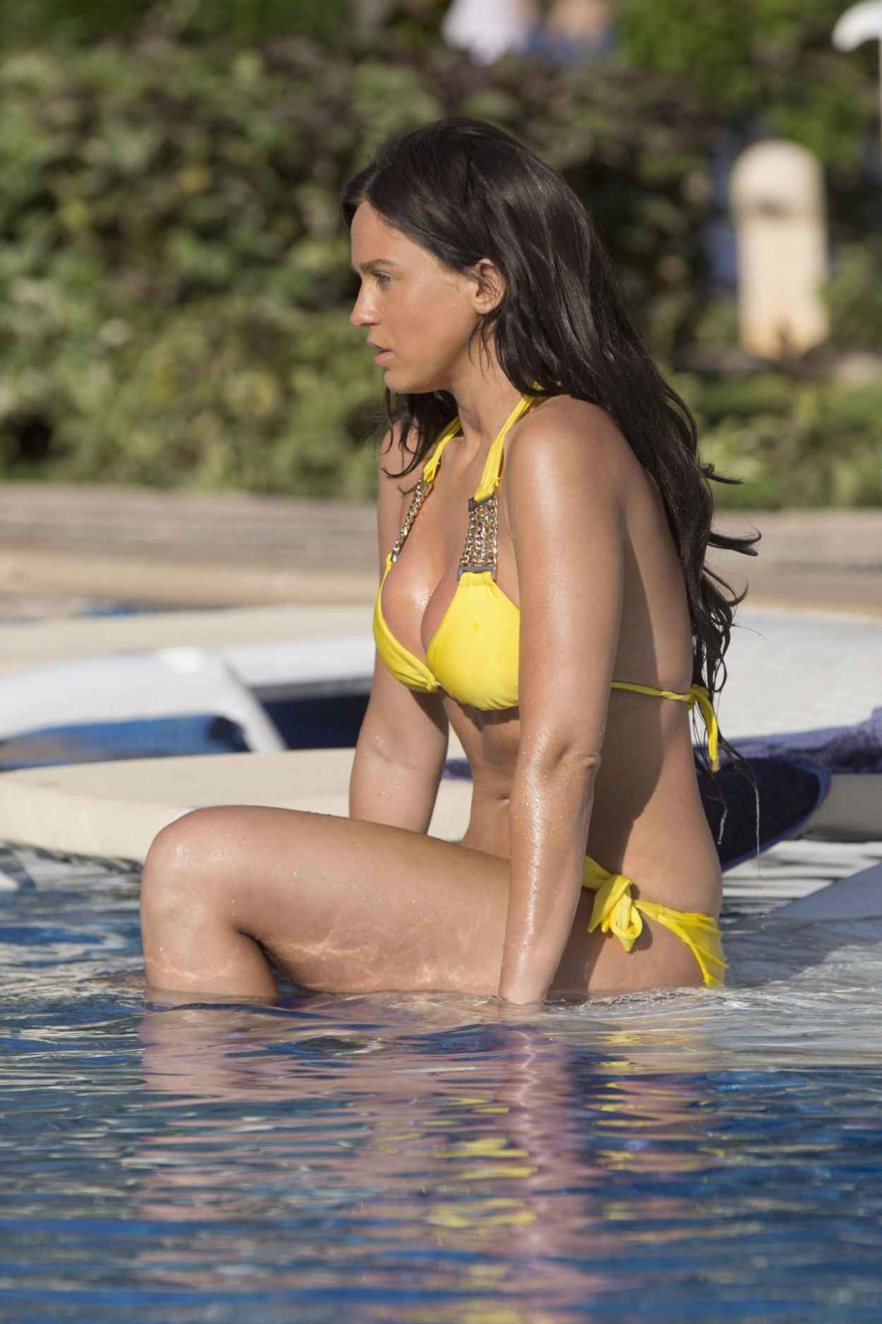 Vicky Pattison in a Yellow Bikini at a Pool in Mexico, May 2015-5