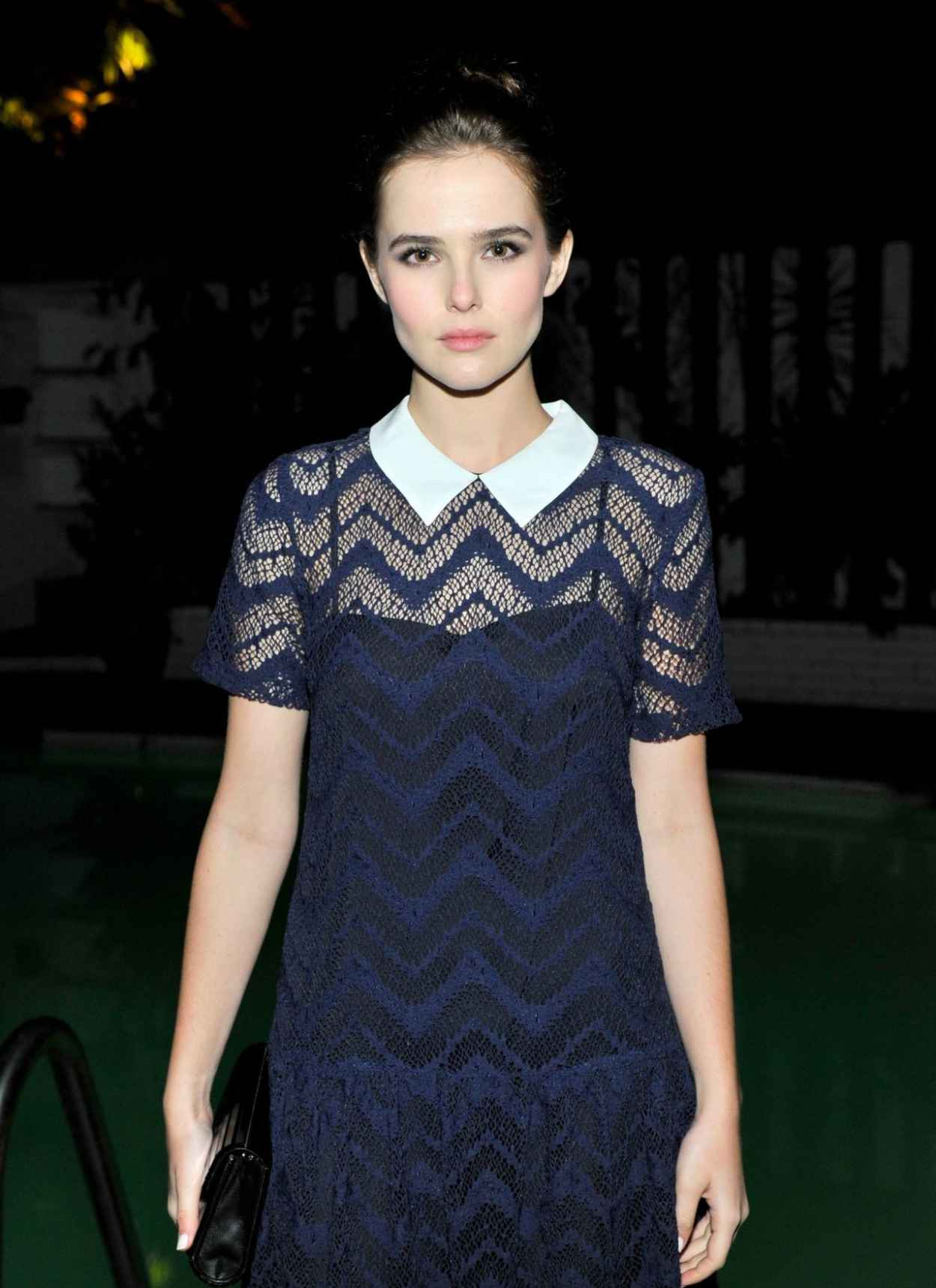 Zoey Deutch in Sandro -Rodeo- Sheer Textured Navy Dress at Sandro Paris Celebration in Los Angeles-1